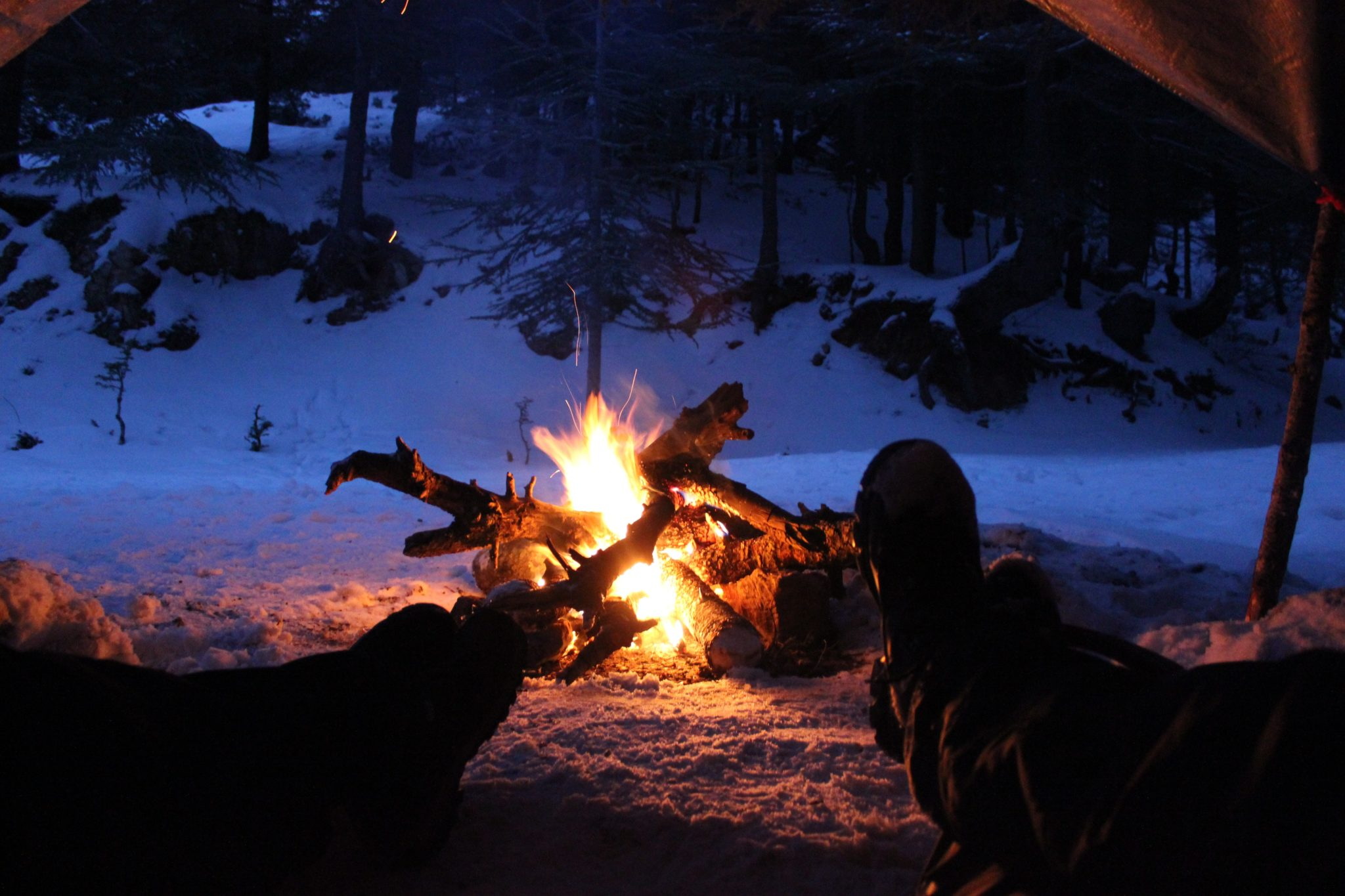 Winter camping fun experience bonfire